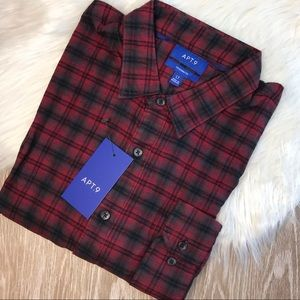 NWT Apt 9 Large Tall Red Plaid Flannel Shirt